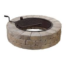 Firepit Kits Necessories Grand 48 In Pit Kit In Bluestone With Cooking