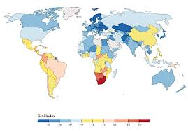 Picture Of A World Map by World Map Of The Gini Coefficient Index The Latest Available