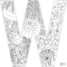 letter w with plants coloring page free printable coloring pages