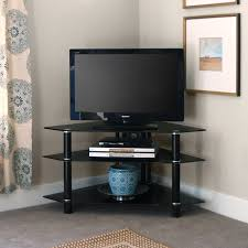 Glass And Metal Corner Computer Desk Multiple Colors Walker Edison Bermuda Black Glass Corner Tv Stand Black V44y76b