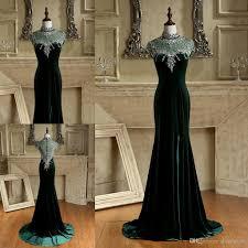 beaded collar emerald green elegant evening dresses with high neck