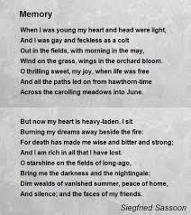 memorial poems for memory poem by siegfried sassoon poem