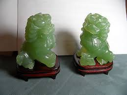 jade lion statue carved pair vintage foo dog lion shishi guardian jade statues