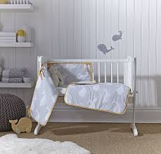 Swing Crib Bedding Clair De Lune Grey Mustard Yellow Whales Crib Cradle Quilt