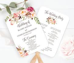 wedding program fan template wedding program fan template printable editable fall floral