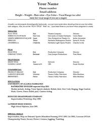 Actor Sample Resume Charming Ideas Theatre Resume Template Word Pretty Inspiration