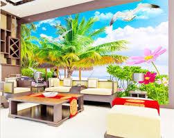 custom mural photo 3d wallpaper seaside green coconut tree flowers