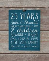customized anniversary gifts 25 year anniversary gift 25th anniversary print personalized