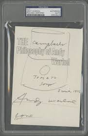 lot detail andy warhol signed page with campbell u0027s soup can