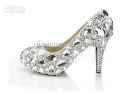 wedding shoes rhinestones glass slipper rhinestone shoes wedding shoes 9 5 cm high heeled 2