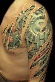 unique 3d biomechanical sleeve tattoo for men tattooshunter com