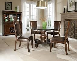 Round Glass Kitchen Table Apartments Charming Dark Wood Dining Room Set With Round Glass