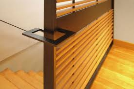 park kitchen building custom metal handrail and slat wall by