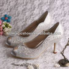 Wedding Shoes Mid Heel Silver Glitter Mid Heel Wedding Shoes For Lady Buy Silver