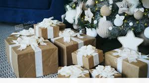 christmas decoration at home pan shot of christmas tree and gift box decoration at home stock