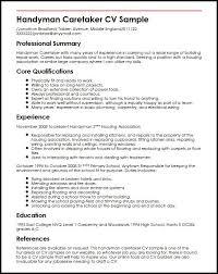 handyman resume handyman caretaker cv sle myperfectcv