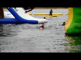 leicestershire dad and daughter bounce off inflatable obstacles in