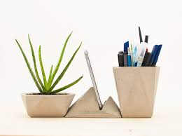 Modern Desk Accessories And Organizers Modern Concrete Desk Accessories Kit Crowdyhouse