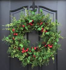 berry wreath etsy red christmas holiday home decor evergreen and