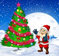 a smiling santa beside the giant christmas tree u2014 stock vector