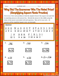 simplifying square roots thanksgiving riddle worksheet by