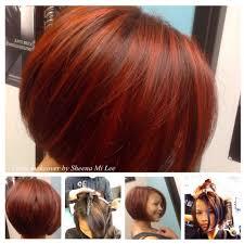 red hair color short hair cut mi studio salon bob hair style