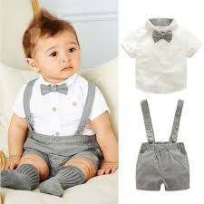 2pcs set baby boys suspenders clothes suits new fashion gentleman