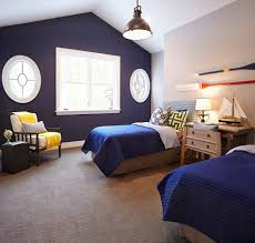 Bedroom With Accent Wall by Navy Blue Accent Wall Bedroom Beach Style With Upholstered