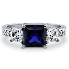 three stone engagement rings sterling silver princess simulated blue sapphire cubic zirconia cz