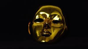 Low Key Lighting Golden Face Mask On Black Low Key Lighting Dramatic High