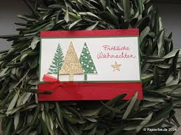 weihnachtskarte tannenbaum glutrot glitzerpapier gold