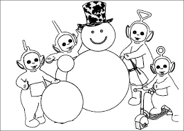 awesome snowman teletubbies coloring awesome