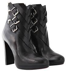 christian louboutin black troop silver buckles high heel red sole