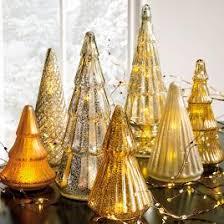 mercury glass led gold tree set of three grandin road