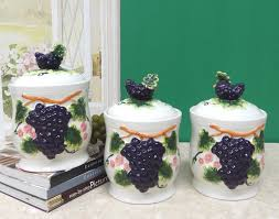 amazon com 3 d grape ceramic 3 piece canister set 82802 by ack