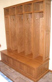 furniture brown solid wood open locker with bench storage on