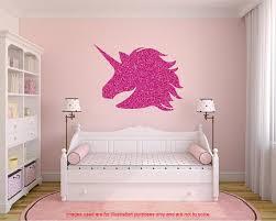autocollant chambre fille sticker mural licorne paillettes lautocollant de grande