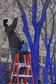 artist colors trees blue to draw attention to deforestation