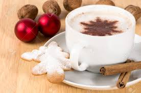 christmas cappuccino with tree shaped gingerbread biscuits stock