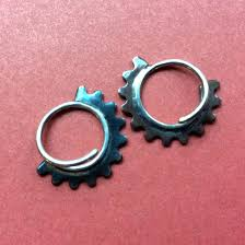 seconds earrings sale seconds micro gear blade hoop earrings discomedusa