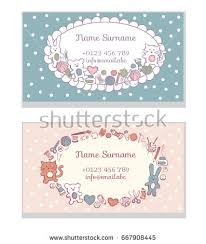 sewing cards templates set business card templates hand made stock vector 667908445