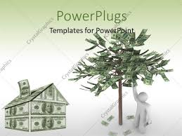 powerpoint template a 3d character with a house and a tree made
