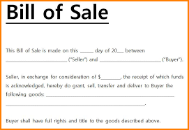 writing a bill of sale for car business sales billof sale medical