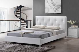 amazon com baxton studio barbara white modern bed with crystal
