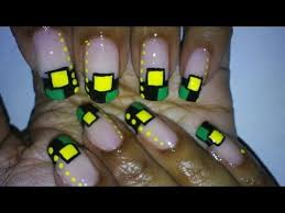 simple green black yellow nail art design squares and dots youtube