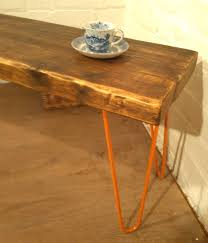 Solid Pine Table Retro Orange Hairpin Legs X Wide Vintage Reclaimed Solid Pine