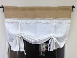Pull Up Curtains Linen Tie Up Curtains White Pull Up Valance Shabby Chic