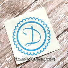 monogram letter stickers scalloped circle initial vinyl decal decorative monogram sticker