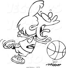 vector of a cartoon basketball dribbling coloring page
