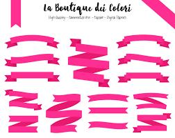 pink ribbon banners cliparts tags digital clip art